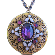 Rare Large Vintage Czech Filigree Brass, Enamel and Purple Glass Locket with Chain