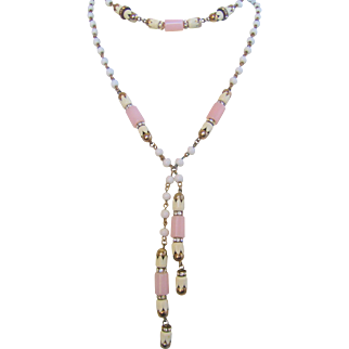 Vintage Art Deco Flapper White and Pink Glass Double Strand Necklace