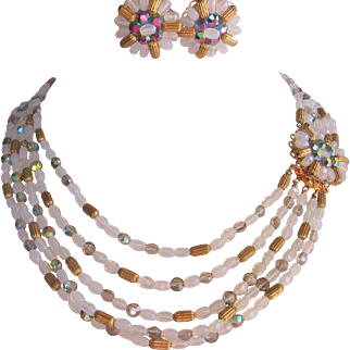 Vintage Multi Strand Glass and Gold Tone Beaded Necklace and Earrings Set