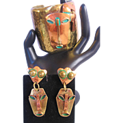 Vintage Brass-Copper and Enamel Dancing Man Mask Cuff Bracelet and Earrings Set