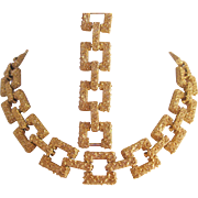 Vintage Ellen Kaim Gold tone Textured Necklace and Earrings Set