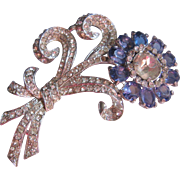 Vintage Large Open Back Blue Crystal and Rhinestone Floral Brooch-Pin