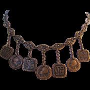 Vintage Brass Medallion-Token Necklace