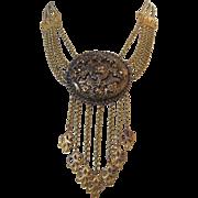 Vintage Victorian Revival Brass Festoon Necklace