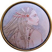 Vintage Transfer Image of Woman with Long Hair Pin Brooch