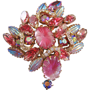 Vintage Pink Art Glass Rhinestone Pin-Brooch