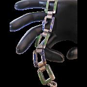 Vintage Art Deco Sterling Silver Enamel Link Bracelet