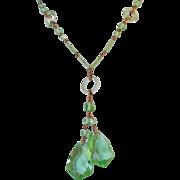 Vintage Czech Art Deco Green Glass Drop Necklace