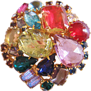 Vintage Art Glass and Rhinestone Brooch-Pin