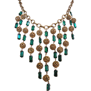 Vintage Brass and Emerald Green Rhinestone Waterfall Bib Necklace