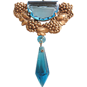 Vintage Czech Blue Crystal and Brass Drop Pendant Brooch-Pin
