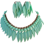 Vintage Mid Century Plastic Mint Green Leaf and Ball Necklace and Earrings Set