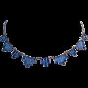 Vintage Art Deco Style Blue Step Glass Necklace