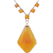 Vintage Art Deco Style Amber-Yellow Glass Drop Pendant Necklace