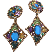 Vintage Huge Statement Gripoix Window Pane Style Statement Earrings
