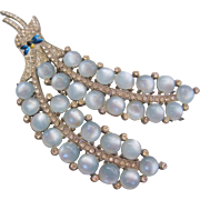 Vintage Huge Pot Metal Faux Pale Blue Moonstone Pin-Brooch