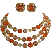 Vintage Marvella Tangerine, Champagne, Lemon Yellow Crystal Necklace and Earring Set