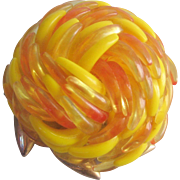 Vintage Yellow-Orange Acrylic Swirl Brooch-Pin