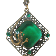 Vintage Czech Green Glass and Brass Dragon Necklace
