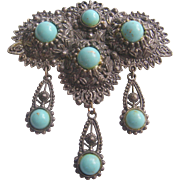 Vintage Silver tone and Simulated Turquoise Glass Bead Brooch-Pin