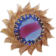 Rare Vintage Mid Century Sabrina-Givre Glass Sun Brooch Pin