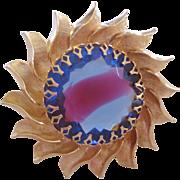 Rare Vintage Mid Century Sabrina-Givre Glass Sun Brooch Pin