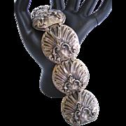 Vintage Baroque Silver tone Shell Design Panel Bracelet