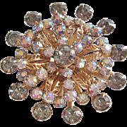 Vintage Gold tone Aurora and Grey Rhinestone Star Brooch-Pin