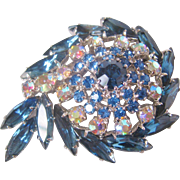 Vintage Blue and Aurora Rhinestone Swirl Brooch-Pin