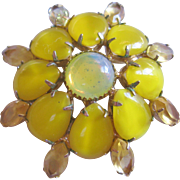 Vintage Yellow Satin Glass and Rhinestone Brooch-Pin