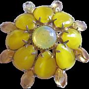 Vintage Yellow Satin Glass and Rhinestone Brooch-Pin