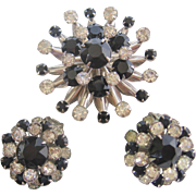 Vintage Mid Century Classic Black and White Starburst Rhinestone Brooch and Earrings Set