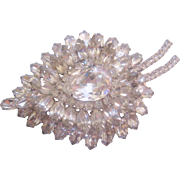 Large Vintage Clear Pear Shaped Rhinestone Brooch Pin
