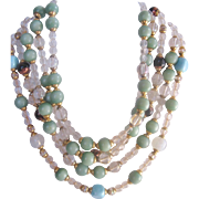 Vintage Crystal and Glass Bead Five Strand Bib Necklace