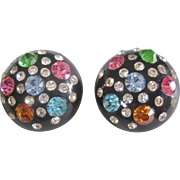 Vintage Black and Multi Colored Acrylic Clip Earrings