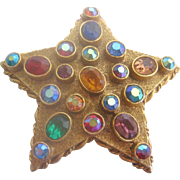 Vintage Art Rhinestone and Crystal Star Brooch-Pin