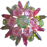 Vintage Crystal and Rhinestone Reverse Set Pink and Green Brooch-Pin