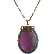 Vintage Large Czech Purple Glass and Blue Seed Bead Pendant Necklace
