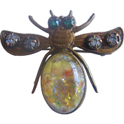 Vintage Art Glass and Brass Flying Bug Pin