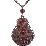 Vintage Czech Brass Blood Red Glass Filigree Pendant Style Necklace