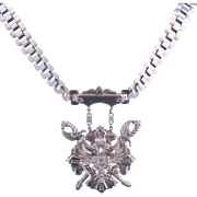 Vintage Silver tone Shield-Crest Style Necklace