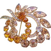 Vintage Eisenberg Ice Amber and Cognac Colored Rhinestone Brooch-Pin