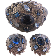 Vintage Mid Century Textured Silver tone Bangle Bracelet and Earrings Set with Blue Rhinestones