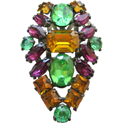 Vintage Huge Multicolored Rhinestone and Open Back Crystal Coat Clip