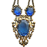 Vintage Open Back Royal Blue Faceted Glass and Brass Festoon Necklace