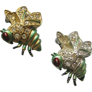 Vintage Pair Wasp-Bee Enamel and Rhinestone Scatter Pin-Brooch