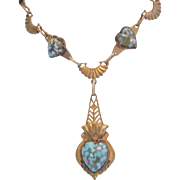 Vintage Art Glass and Brass Heart Necklace