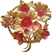 Vintage Brass Enamel and Rhinestone Flower Pin-Brooch