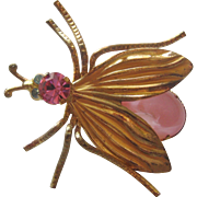 Vintage Bass Pink Art Glass and Rhinestone Bug Pin-Brooch