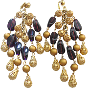 Fabulous Vintage Extra Long Gold Ball and Purple Art Glass Chandelier Earrings